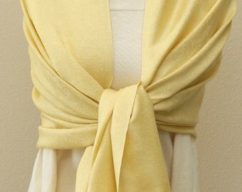 Light yellow paisley pashmina scarf, bridal bridesmaid gifts with monogram