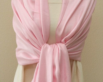 Wedding party gifts, Light pink pashmina monogrammed bridal shawl, bridesmaid wrap, scarf, gifts
