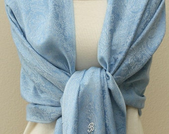 Bridesmaid gift, Sky blue paisley Pashmina scarf, bridal bridesmaid shawl, monogramed bridesmaid gifts