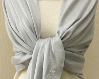 Wedding party, bridesmaids, gift idea, Silver gray shawl, pashmina scarf bridesmaid gift, personalized gifts