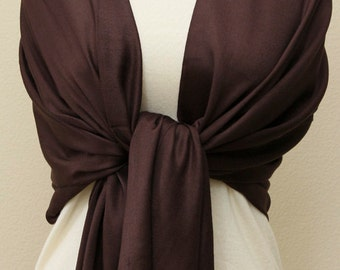 Espresso chocolate brown pashmina bridesmaid gifts, mother of the bride gifts, scarf, personalized gifts