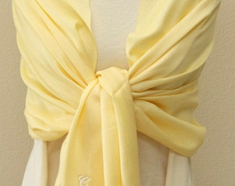 Wedding party gifts Soft light yellow pashmina scarf, bridesmaid wrap, bridal shawl, bridesmaid gifts personalized