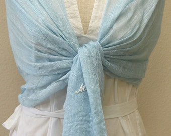 Initial monogram light sky blue linen scarf for any occasion, bridal, bridesmaids gift