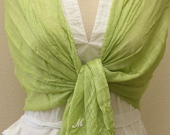 Apple green linen scarf, shawl, wrap for any occasion, monogram bridal, bridesmaids gift