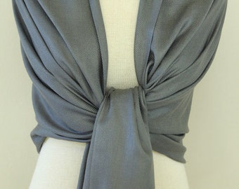 Clearance Charcoal Gray Bridal Pashmina shawl initial monogram, scarf, bridesmaid wrap
