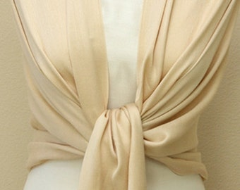 Initial monogram champagne pashmina scarf, shawl, wrap for bridal, bridesmaid gifts
