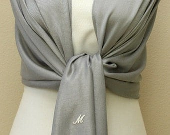 Gray shawl, scarf, pashmina wrap, bridal bridesmaid gifts with monogram