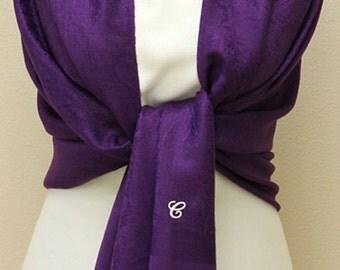 Purple paisley shawl pashmina scarf bridal bridesmaid gifts monogrammed gifts
