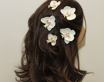 Set of 5 ivory orchid hair bobby pins, orchid hair pieces, bridal bridesmaid accessories