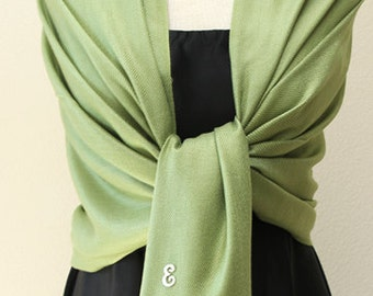 Soft sage green pashmina shawl, scarf, wrap, bridesmaid gifts, monogrammed gifts