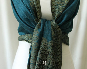 Soft teal blue and gold paisley edge shawl scarf wrap with monogram
