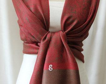 Pashmina shawl burgundy and light brown paisley scarf, shawl, wrap, monogrammed gifts