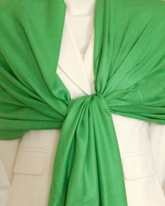 Soft kelly green shawl, scarf, wrap, holiday gift, winter clothing, Christmas gift