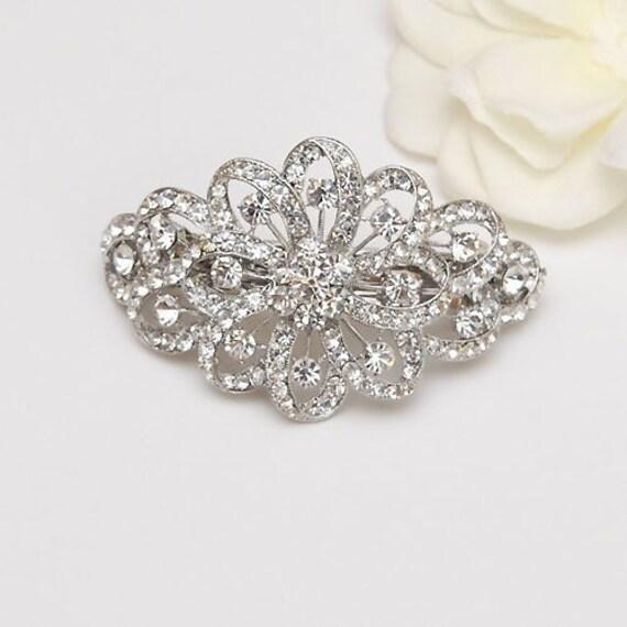 silver metal bridal rhinestones hair piece flower swirls