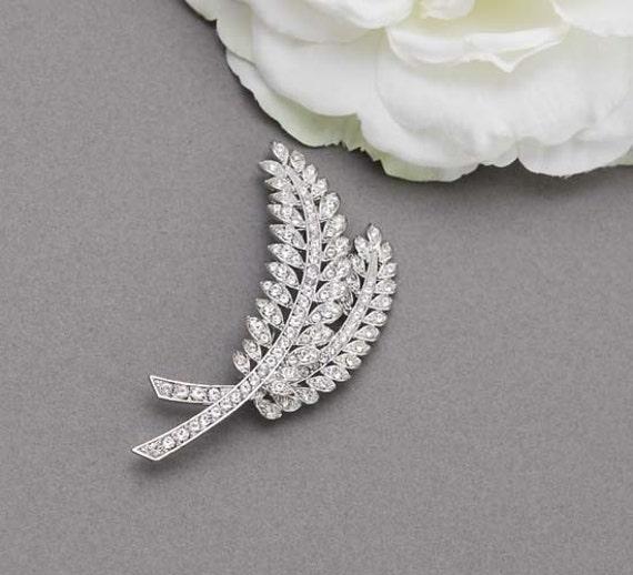 Classic, Silver metal rhinestone leaves brooch, rhinestone leaf brooch