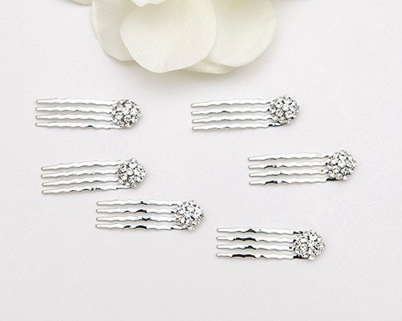 Set of 6, small swarovski crystal hair combs for any occasions, silver metal color, bride, bridesmaids