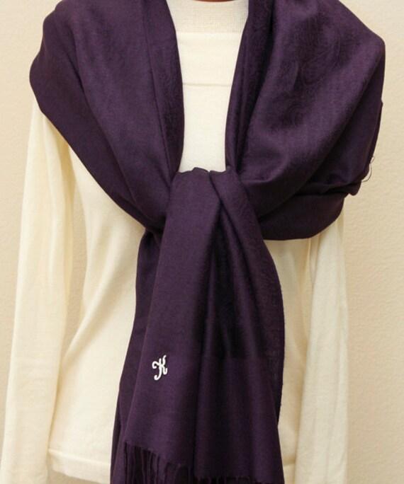6 eggplant paisley shawls with monogram