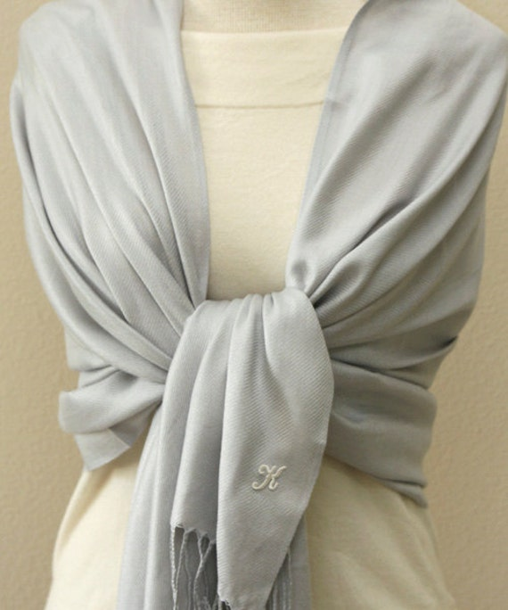 5 silver shawls with monogram