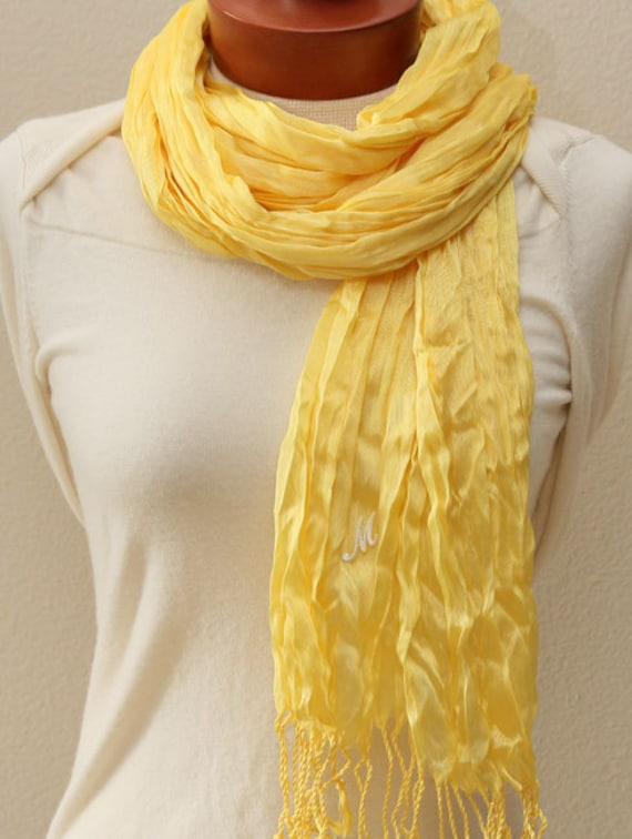 Sheer yellow wrinkle, crinkle scarf, shawl, wrap with monogram, bridesmaids gifts