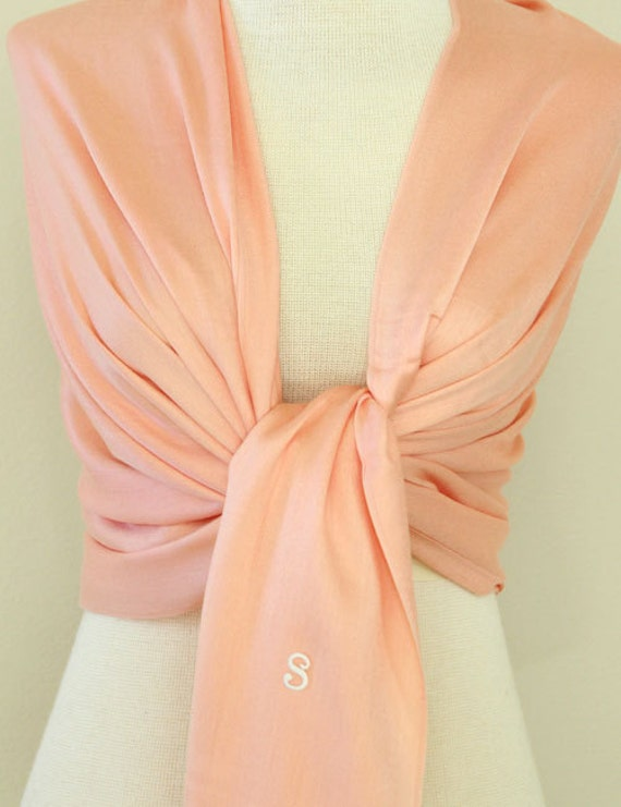 3 peach shawls with monogram