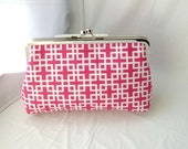Sale - Patrice - pink clutch lined in dupioni silk