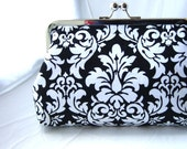 Wedding Clutch - Bridal Clutch - Bridesmaid Clutch - Wedding Purse - Bridesmaid Gift - Black and White Damask Clutch - Bernice Clutch