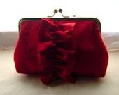 Red Dupioni Silk Clutch Purse with a Red ruffles - Charlotte