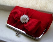 Red Dupioni Silk Bridal Clutch with Crystal Brooch - Chloe