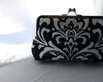 Wedding Clutch - Bridesmaid Gift - Bridesmaid Clutch - Wedding Purse - Black and White Cotton Damask Clutch Purse - Sophia