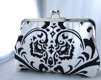 Wedding Clutch - Bridesmaid Gift - Bridesmaid Clutch - Wedding Purse - Black and White Cotton Damask Clutch Purse - Sophia