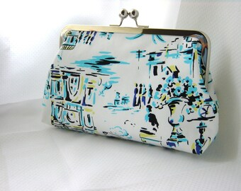 Blue and White Clutch - Modern Purse - Bridesmaids Clutch - Bridesmaids Gifts - Felicity