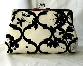 Wedding Clutch - Bridal Clutch - Wedding Gifts - Floral Clutch - Bridesmaids Clutch - Black and White Clutch - Julia Clutch