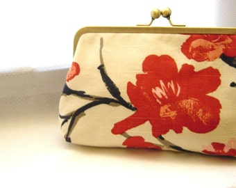 Red Clutch Purse - Flowering Branch - lined in dupioni silk - Abby