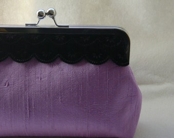 Bridesmaids Clutch - Wedding Clutch - Bridesmaids Gifts - Lilac Clutch with Black Velvet Lace - Madison Clutch