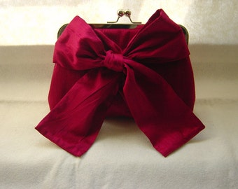Red Bridal Clutch Purse - with a Bow - Marisa