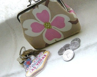 Coin Purse- Change Purse - Pink Flowers Coin Purse