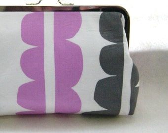 Gray and Lavender Bridal Clutch Purse - Lined in Dupioni Silk - Kyra
