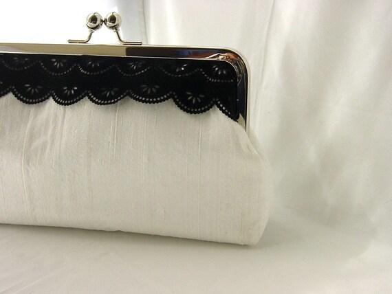 Madison - white dupioni silk clutch with black velvet lace