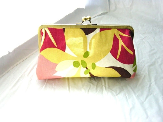 Yellow Floral Clutch Purse - Jenny