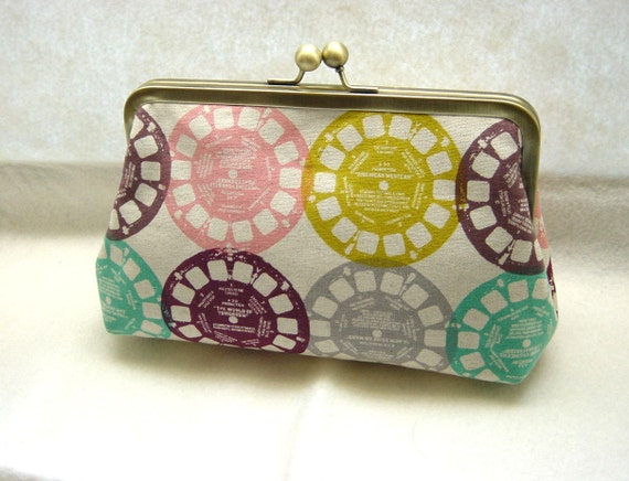 Natural Linen Clutch Purse - View Finder Reels - Lined in Dupioni Silk - Bree