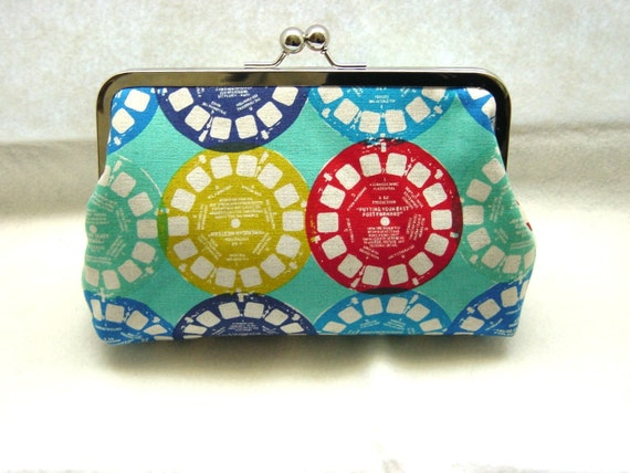 Blue Linen Clutch Purse - View Finder Reels - Lined in Dupioni Silk - Bree