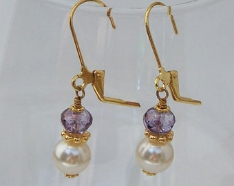 LILAC AND PEARL EARRINGS