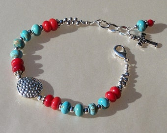 Turquoise, Red Coral and Silver Bracelet