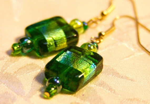 Ocean Green Glass Earrings