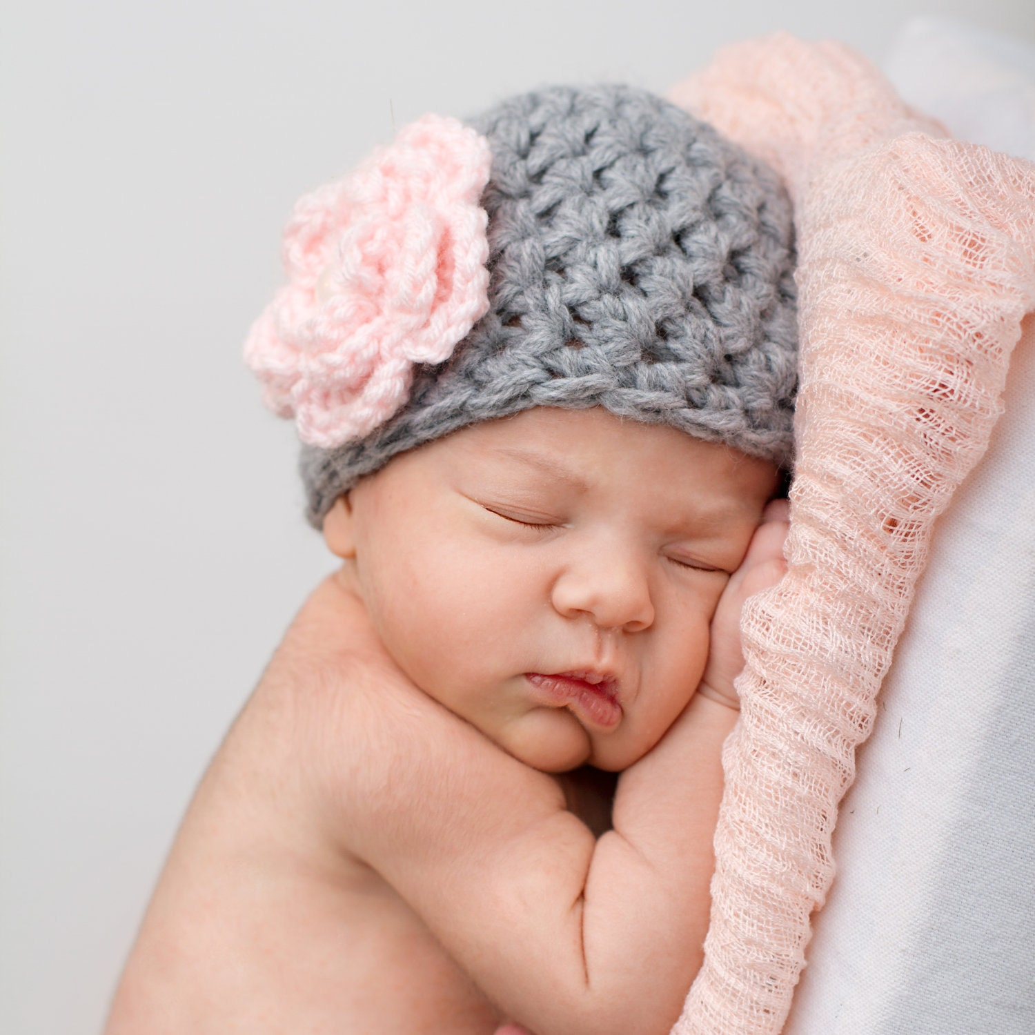 Crochet Pattern Newborn Girl Hat : Items similar to Baby Girl Crochet Knit Hat - Pale Gray ...