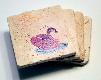 Colorful Swan Coasters - Set of 4