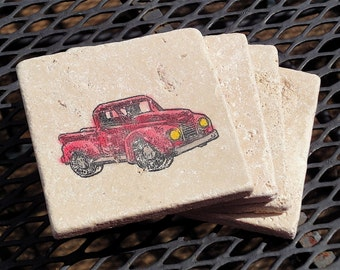 Big Red Truck - Set of 4 Coasters