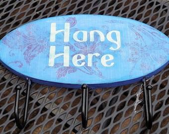 "Blue ""Hang Here"" Key Hooks"