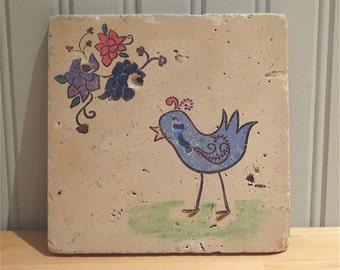 Sweet Blue Bird Trivet (ready to ship)