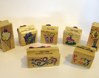 The Party Time Rubber Stamp - set of 7, Stamp, Party, Polymer Clay, Clay, Sculpey, supply, tools, Metal Clay, Jewelry